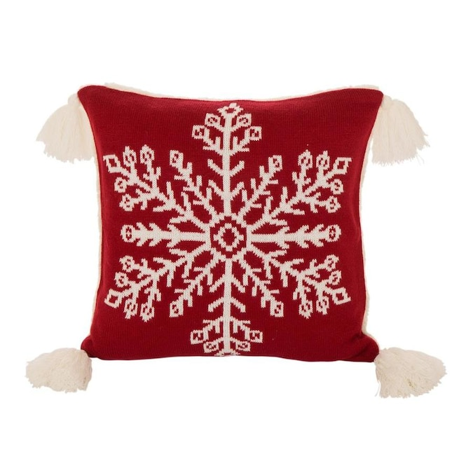 Glitzhome 18 Inl X 18 Inw Knitted Snowflake Acrylic Red Pillow Cover W Tassels In The Christmas Decor Department At Lowes Com