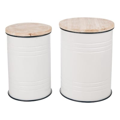Incredible Glitzhome Storage Stool Set Of 2 White Small Stool At Lowes Com Short Links Chair Design For Home Short Linksinfo