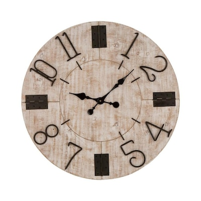 Glitzhome Analog Round Wall Clock at Lowes.com