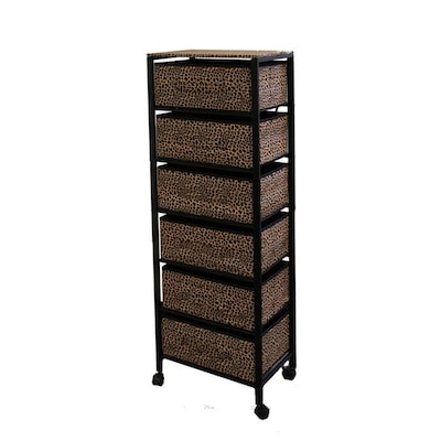 Ore International 52 5in Tall Metal Shelf With 6 Drawers