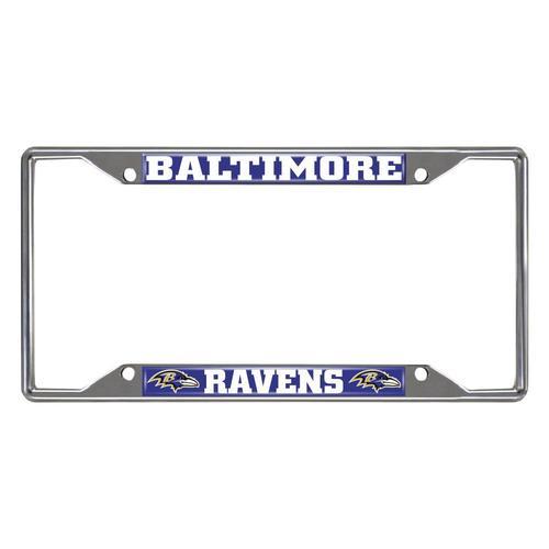 2 Baltimore Ravens Chrome Auto License Plate Frames