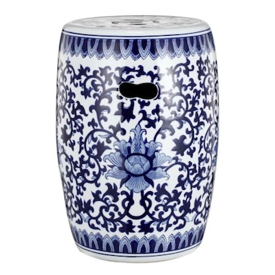 Fabulous Benzara 16 In White And Blue Ceramic Barrel Garden Stool At Caraccident5 Cool Chair Designs And Ideas Caraccident5Info