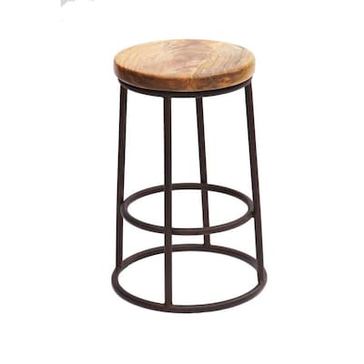 Sensational Benzara 24 In Acacia Wood Counter Height Barstool With Iron Gamerscity Chair Design For Home Gamerscityorg