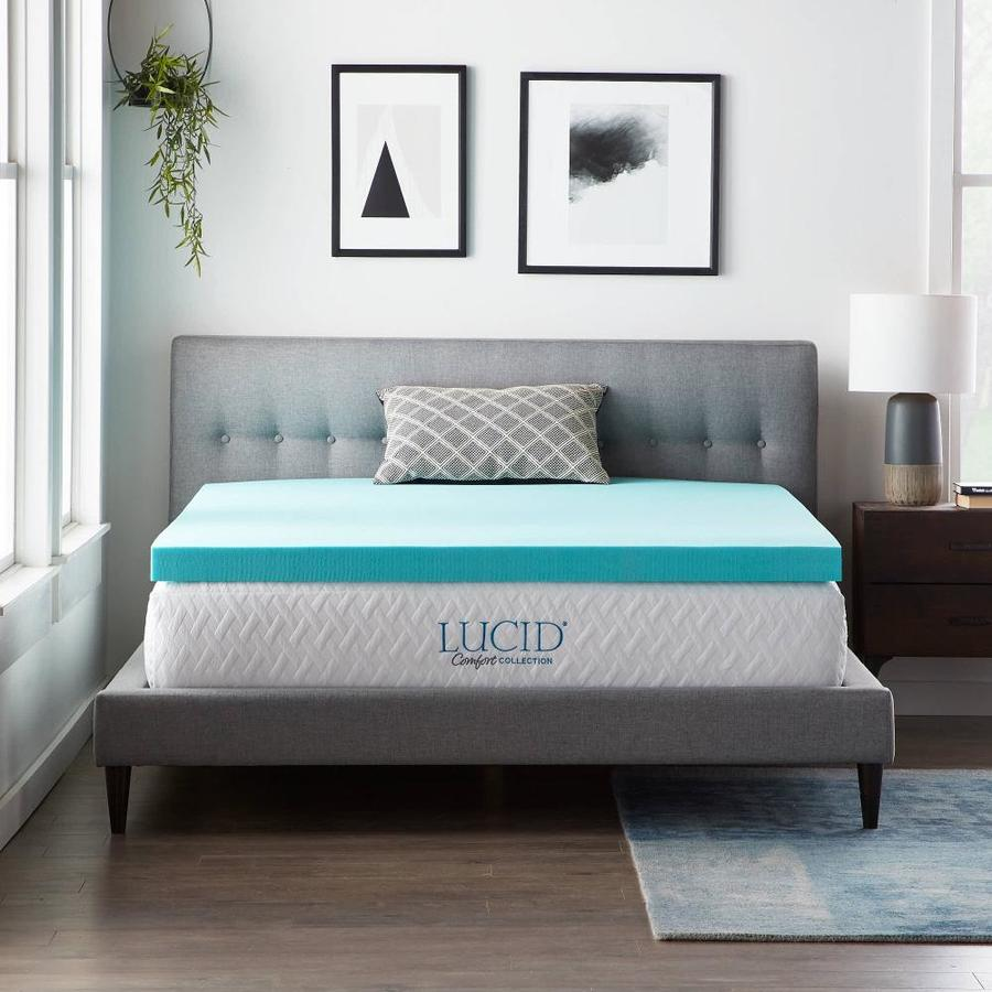 Lucid Comfort Collection Gel 3 In D Memory Foam Queen Mattress Topper In The Mattress Covers Toppers Department At Lowes Com