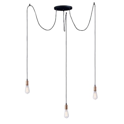 Maxim Lighting Early Electric Black Antique Brass Industrial Pendant Light In The Bare Bulb Pendant Lights Department At Lowes Com