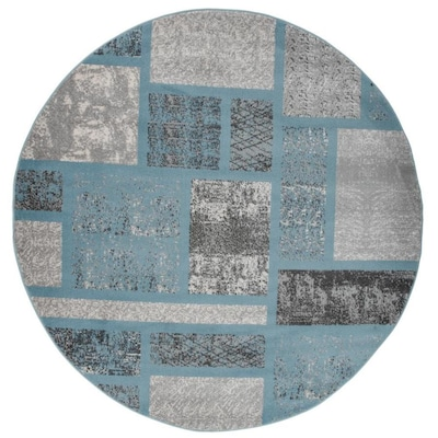 World Rug Gallery Princeton Blue Round Indoor Mid Century