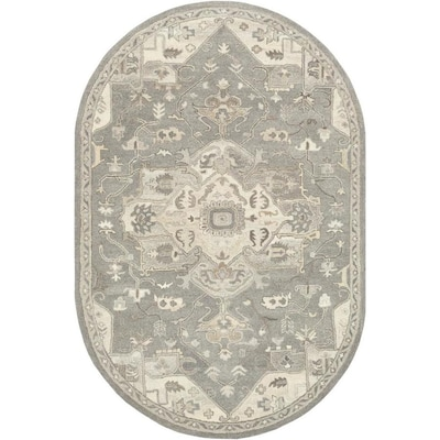 Ft Oval Traditional Area Rug Charcoal