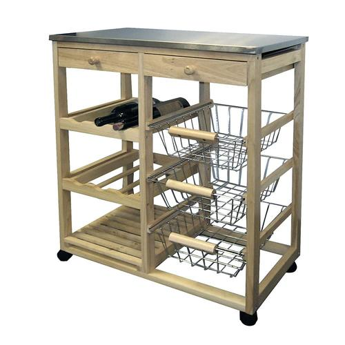 ORE International 32 In. Tall Wooden Kitchen Utility Cart On Wheels with  Drawers, Shelves and Storage at Lowes.com