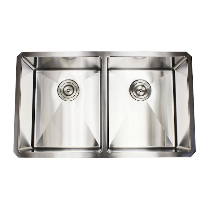 Emoderndecor Ariel Undermount 32 In X 19 In Stainless Steel Double Equal Bowl Kitchen Sink In The Kitchen Sinks Department At Lowes Com