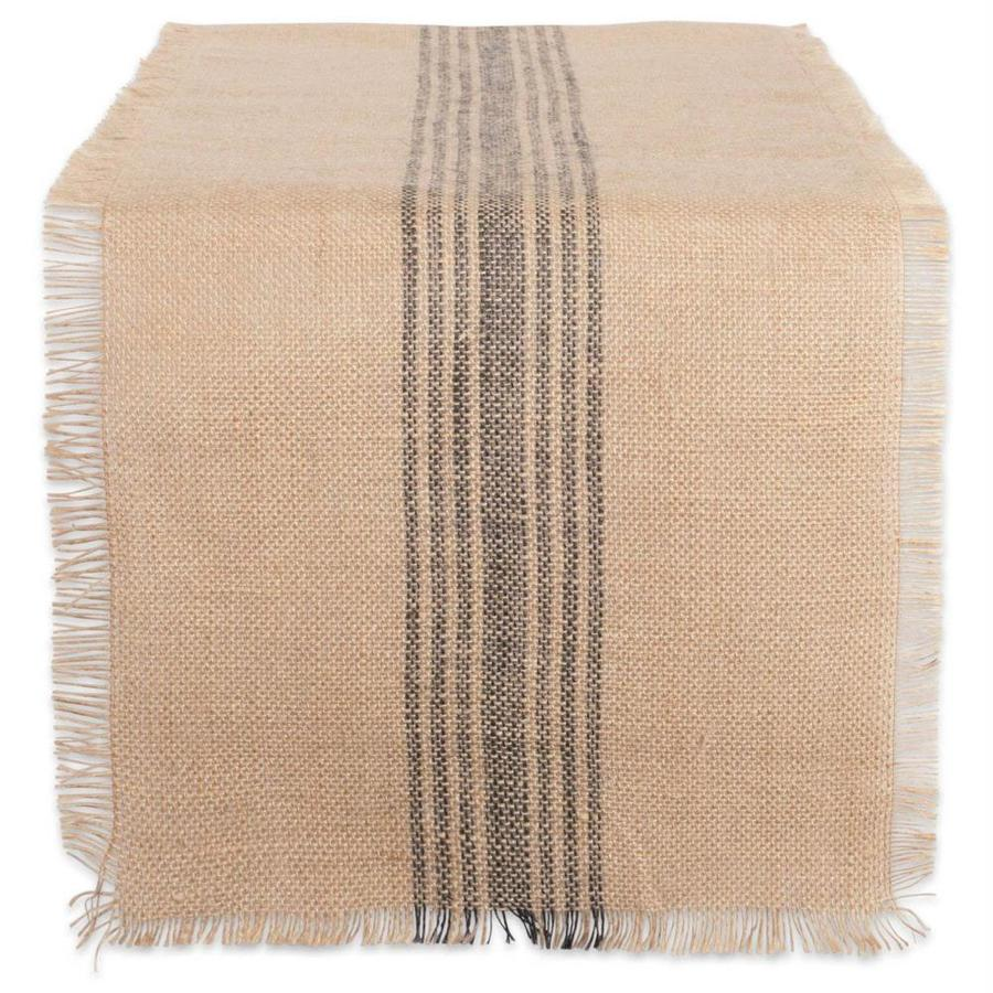 Dii Farmhouse Table Runner Center Stripe Gray Table Cover For 6 Ft Rectangle In The Table Covers Department At Lowes Com