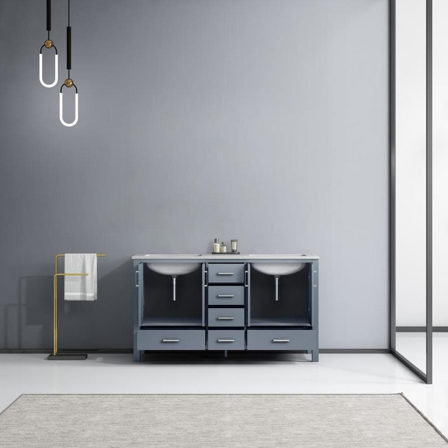 Lexora Jacques 60 In Dark Grey Undermount Double Sink Bathroom Vanity With White Carrera Marble Top In The Bathroom Vanities With Tops Department At Lowes Com