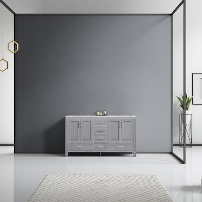 Lexora Jacques 60 In Distressed Grey Double Sink Bathroom