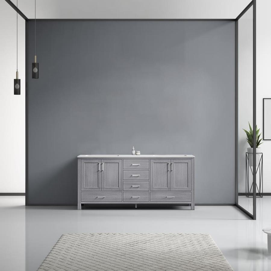 Lexora Jacques 72 In Distressed Grey Undermount Double Sink Bathroom Vanity With White Carrera Marble Top In The Bathroom Vanities With Tops Department At Lowes Com