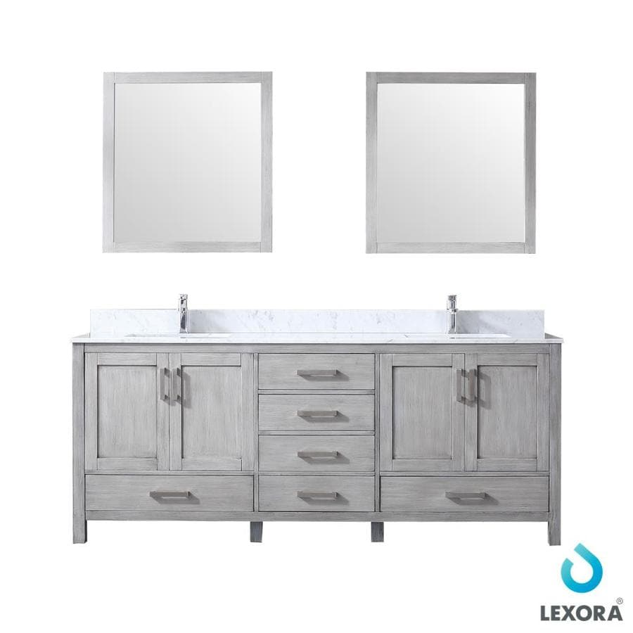 Lexora Jacques 80 In Distressed Grey Undermount Double Sink Bathroom Vanity With White Carrera Marble Top Mirror Included In The Bathroom Vanities With Tops Department At Lowes Com