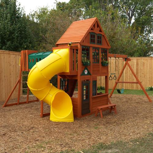 KidKraft Cedar Grove Manor Wooden Swing Set/Playhouse at ...