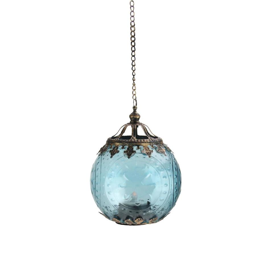Northlight 6 25 In Aqua Blue Chic Bohemian Glass Tea Light Candle Holder Lantern In The Candle Holders Department At Lowes Com