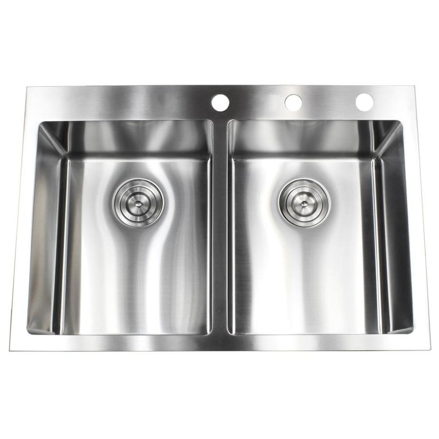Emoderndecor Ariel Drop In 33 In X 22 In Stainless Steel Double Equal Bowl 3 Hole Kitchen Sink In The Kitchen Sinks Department At Lowes Com