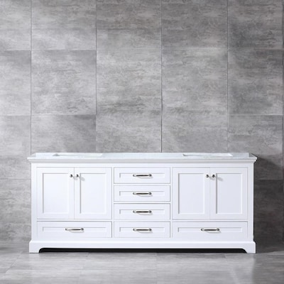 Lexora Dukes 80 In White Double Sink Bathroom Vanity With