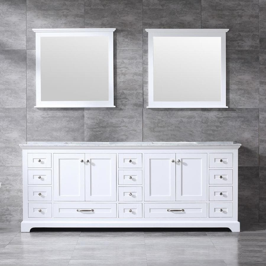 Lexora Dukes 84 In White Undermount Double Sink Bathroom Vanity With White Carrera Marble Top Mirror Included In The Bathroom Vanities With Tops Department At Lowes Com