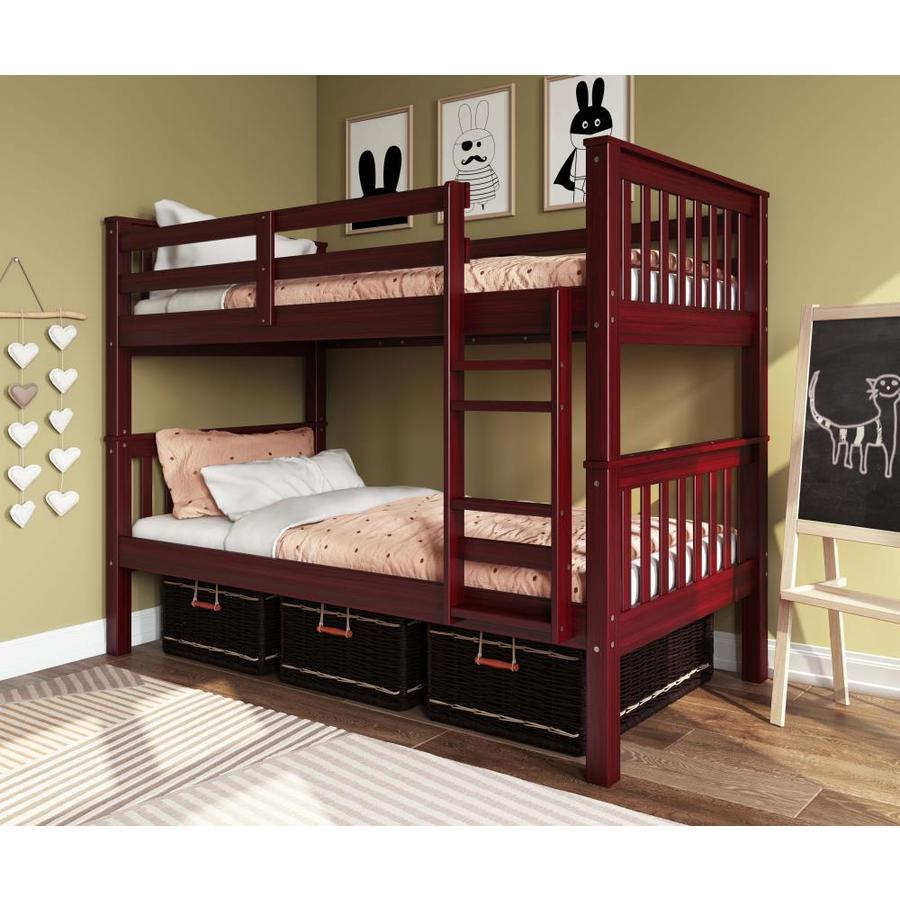 Palace Imports Mahogany Twin Over Twin Bunk Bed In The Bunk Beds Department At Lowes Com