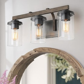 Lnc Sabrina 3 Light Brown Farmhouse Vanity Light In The Vanity Lights Department At Lowes Com