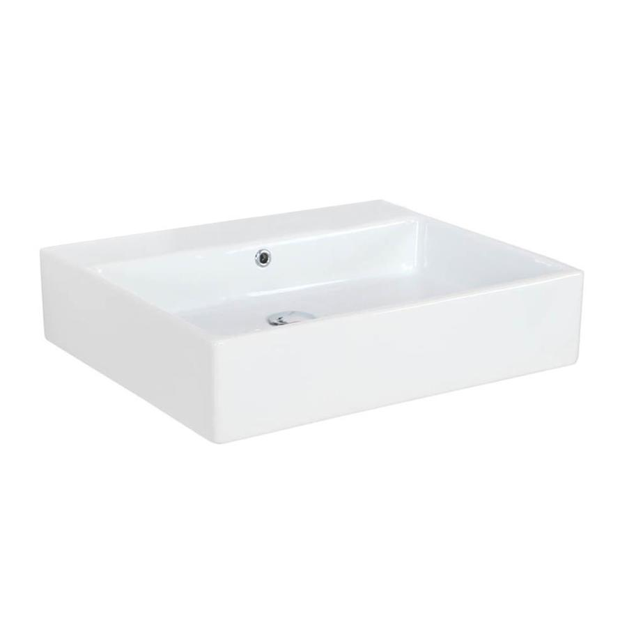 Ws Bath Collections Simple Ceramic White Ceramic Wall Mount Rectangular Bathroom Sink With Overflow Drain 23 6 In X 19 7 In In The Bathroom Sinks Department At Lowes Com