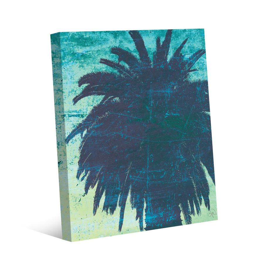 Creative Gallery Grungy Palm Tree Frameless 20 In H X 16 In W Botanical Canvas Print In The Wall Art Department At Lowes Com
