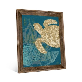 Creative Gallery Sea Treasures Blue Brown Wood Framed 23 In H X 19 In W Coastal Canvas Print In The Wall Art Department At Lowes Com