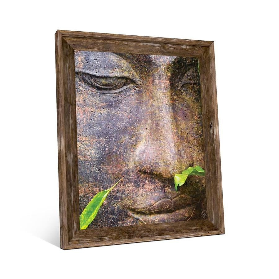 Creative Gallery Buddha Head 20x24 Barnwood Framed Wall Art Print In The Wall Art Department At Lowes Com