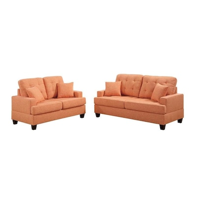 Outstanding Benzara Modern Orange Microfiber Sofa At Lowes Com Evergreenethics Interior Chair Design Evergreenethicsorg