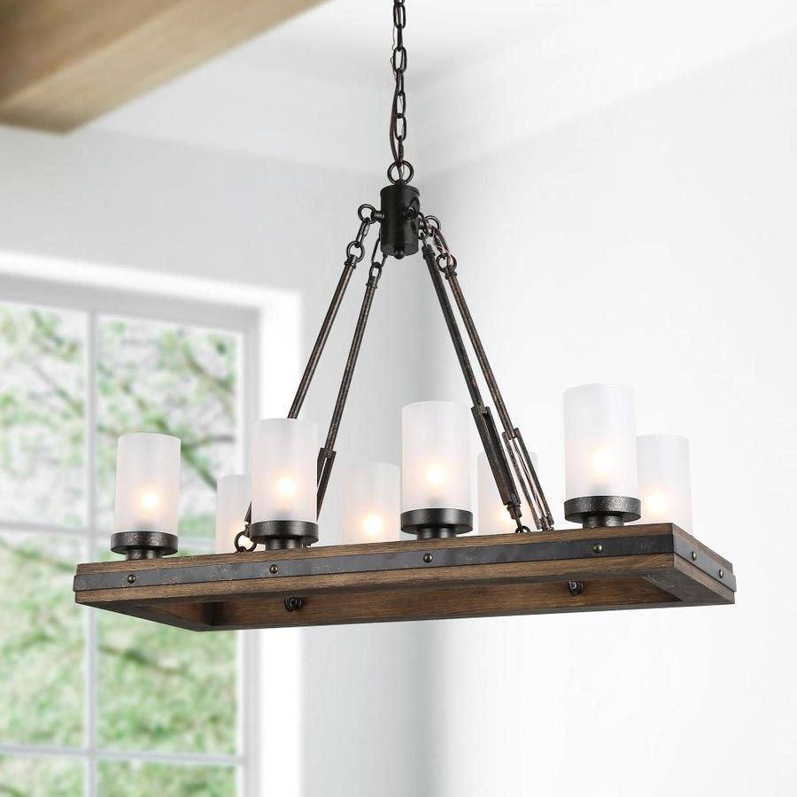 Lnc Laius 8 Light Black Farmhouse Chandelier In The Chandeliers Department At Lowes Com