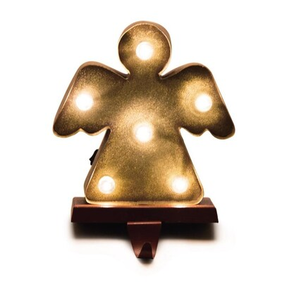 Angel w// Open Heart Christmas Stocking Holder Hanger Bronzed Look Metal