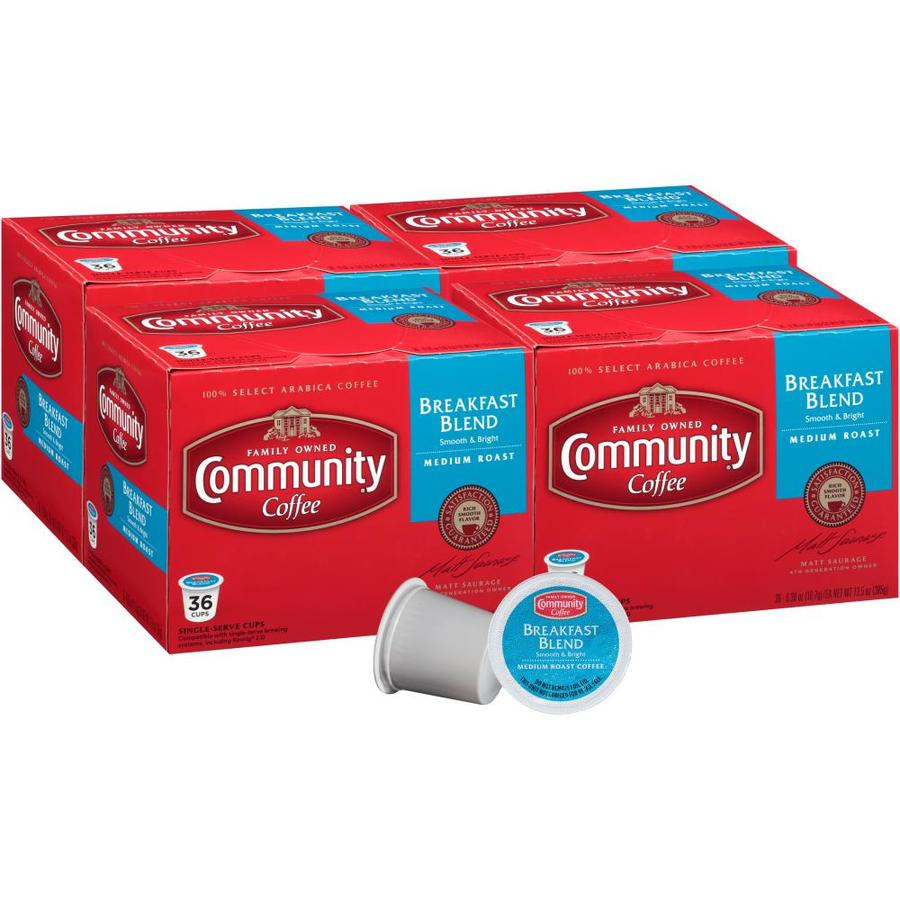Community Coffee Community Coffee Breakfast Blend Medium Roast Single Serve Pods 144 In The Single Serve Coffee Beverages Department At Lowes Com
