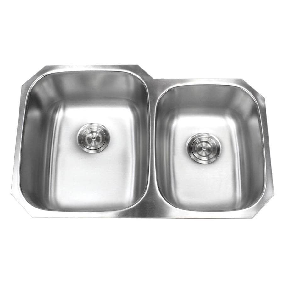 Kingsman Hardware Stainless Steel Under Mount 18g Kitchen Sink Undermount 32 In X 20 75 In Stainless Steel Brushed Nickel Double Offset Bowl Kitchen Sink In The Kitchen Sinks Department At Lowes Com