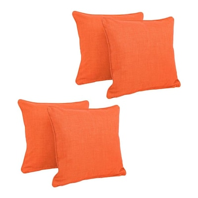 Blazing Needles 4 Pack Solid Tangerine Dream Rectangular Throw Pillow In The Outdoor Decorative Pillows Department At Lowes Com