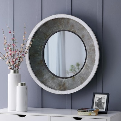 Firstime Firstime And Co 31 5 In L X 31 5 In W Round Antique Silver White Metallic Gray Framed Wall Mirror In The Mirrors Department At Lowes Com