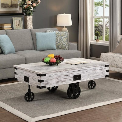 Firstime Firstime And Co Rustic White Wood Coffee Table At Lowes Com