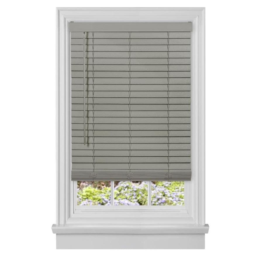 Achim Gii Madera Falsa 2 In Slat Width 35 In X 64 In Cordless Gray Faux Wood Room Darkening Plantation Blinds In The Blinds Department At Lowes Com