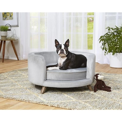 Sensational Enchanted Home Pet Grey Polyester Round Dog Bed At Lowes Com Squirreltailoven Fun Painted Chair Ideas Images Squirreltailovenorg