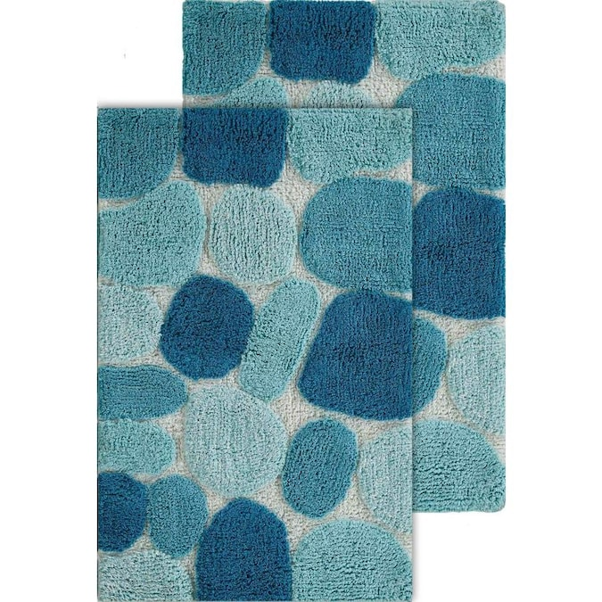 Chesapeake Merchandising Pebbles 32 In X 20 In Arctic Blue Cotton Bath Rug In The Bathroom Rugs Mats Department At Lowes Com