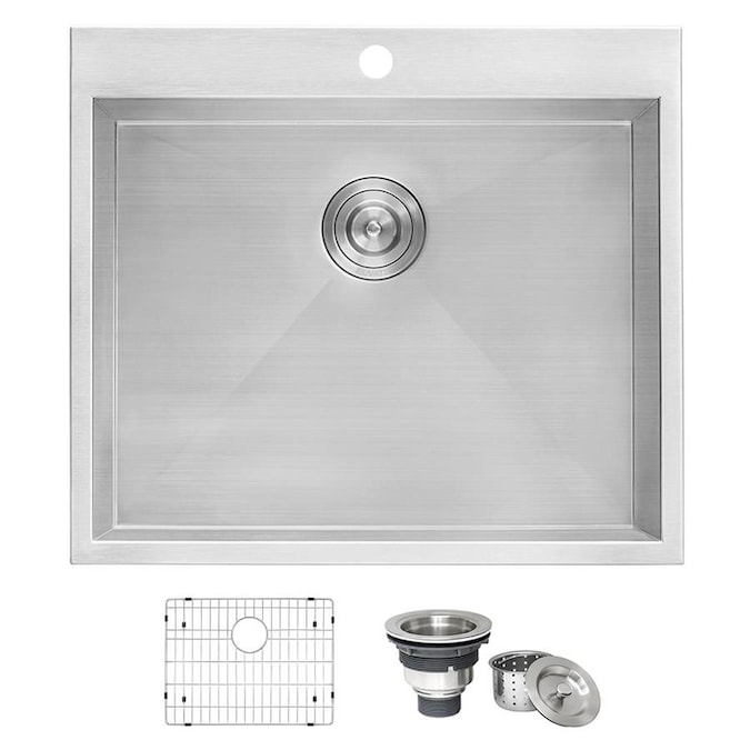 Ruvati 22 In X 25 In 1 Basin Brushed Stainless Steel Self Rimming Laundry Sink With Drain In The Utility Sinks Department At Lowes Com