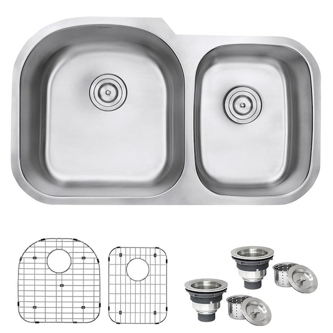 Ruvati Varna Undermount 34 In X 205 In Brushed Stainless Steel Double Offset Bowl Kitchen Sink In The Kitchen Sinks Department At Lowes Com