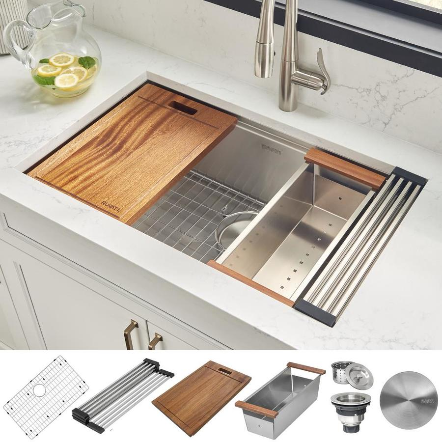 Ruvati Roma Undermount 28 In X 19 In Brushed Stainless Steel Single Bowl Workstation Kitchen Sink In The Kitchen Sinks Department At Lowes Com