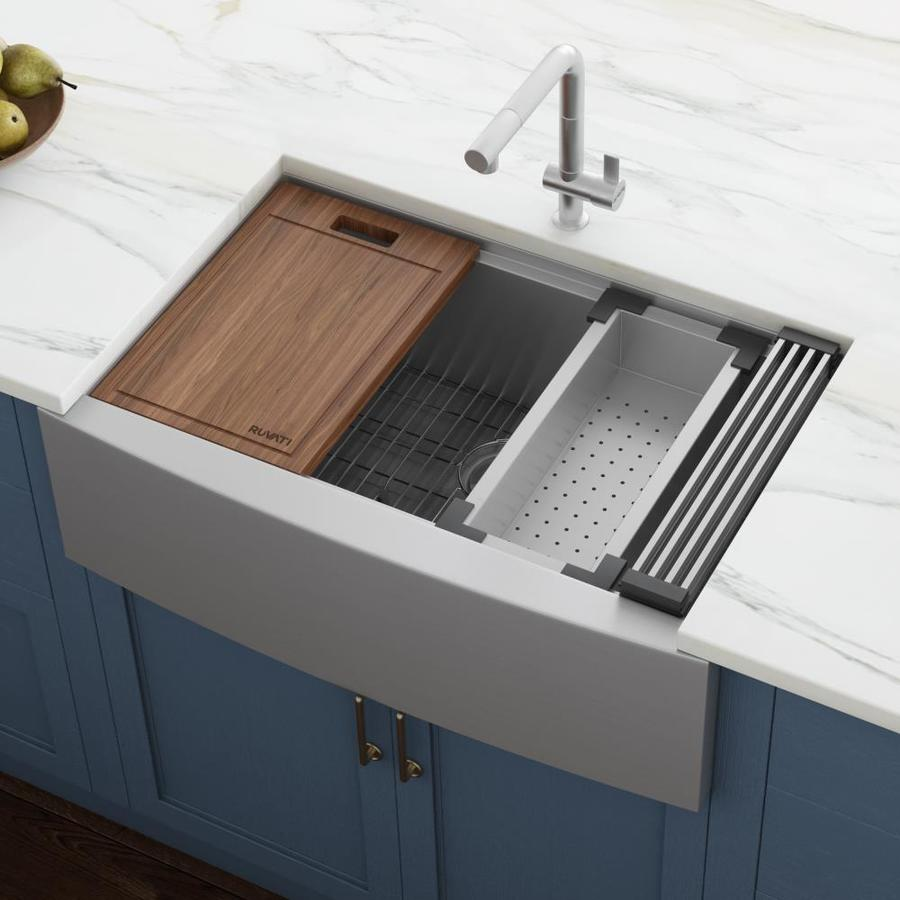 Ruvati Verona Farmhouse Apron Front 27 In X 22 In Stainless Steel Single Bowl Workstation Kitchen Sink In The Kitchen Sinks Department At Lowes Com