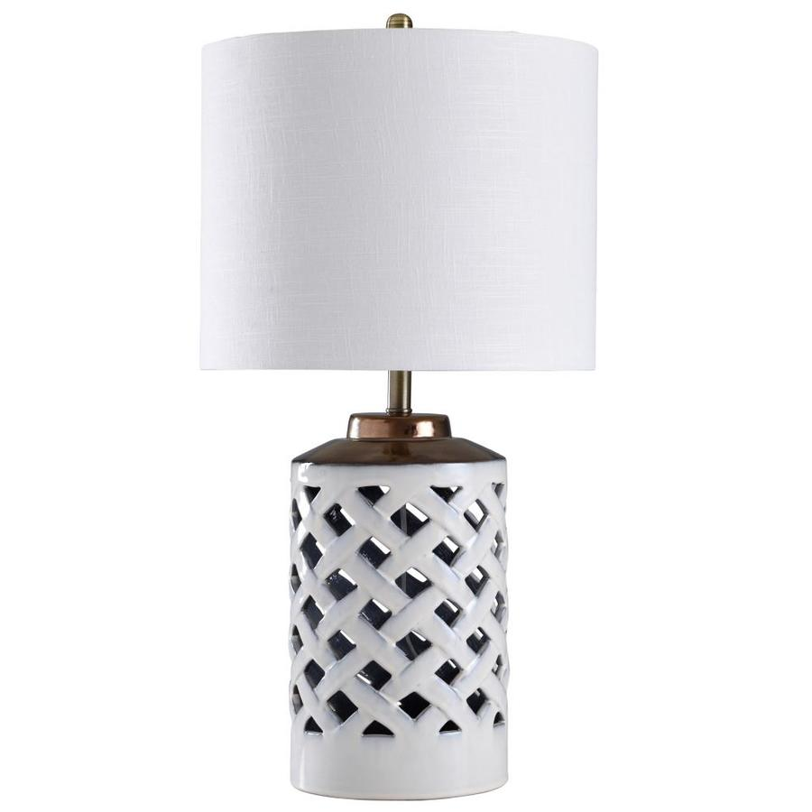 Stylecraft Home Collection 31 In White Silver 3 Way Table Lamp With Plastic Shade In The Table Lamps Department At Lowes Com
