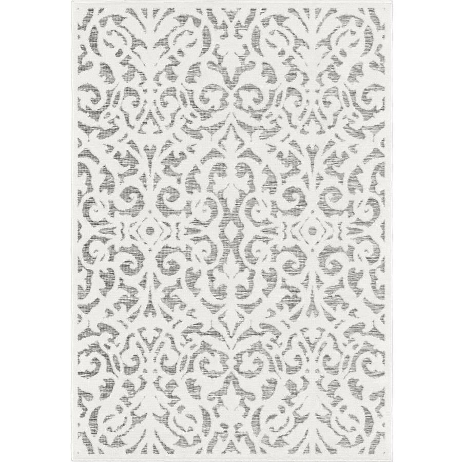 Orian Rugs Lady Bird 7 X 10 Natural Gray Indoor Outdoor Damask Farmhouse Cottage Area Rug In The Rugs Department At Lowes Com