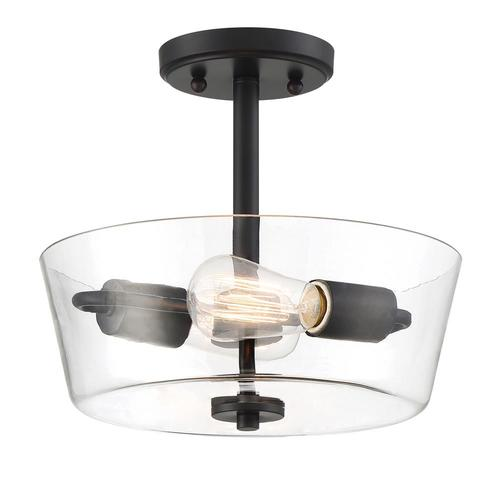 Designers Fountain Westin 12 In Matte Black Modern Contemporary Incandescent Semi Flush Mount Light In The Flush Mount Lighting Department At Lowes Com