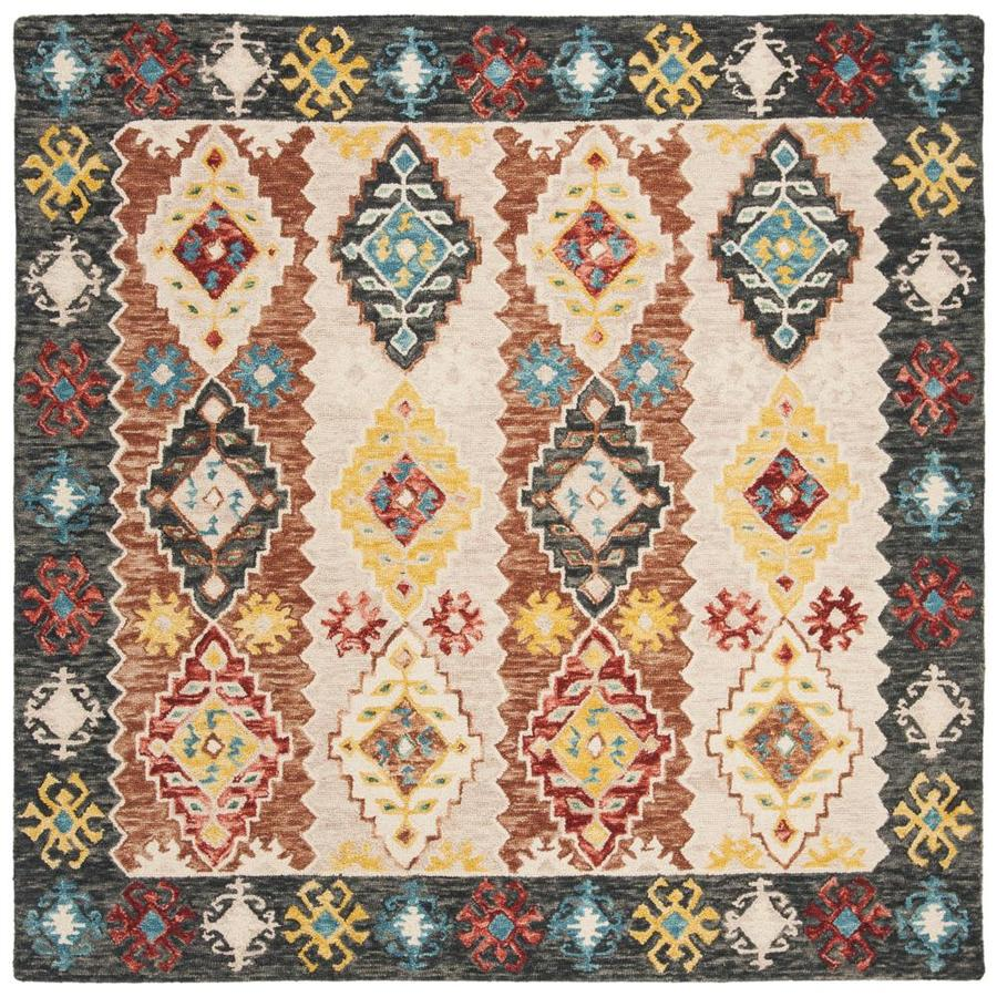 Safavieh Aspen Biel 7 X 7 Beige Charcoal Square Abstract Bohemian Eclectic Handcrafted Area Rug In The Rugs Department At Lowes Com