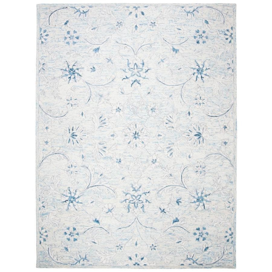 Safavieh Micro Loop Passion 9 X 12 Light Blue Ivory Indoor Floral Botanical Vintage Handcrafted Area Rug In The Rugs Department At Lowes Com