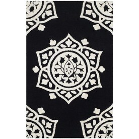 Safavieh Dhurries Cesa 4 X 6 Black Ivory Indoor Geometric Coastal Handcrafted Area Rug In The Rugs Department At Lowes Com